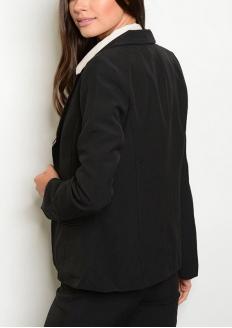 Long Sleeve Blazer with Fake Pocket - Black