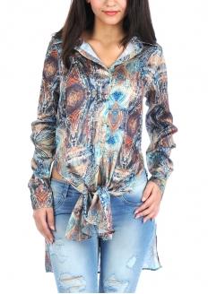 Ethnic Print Satin Tunic Shirt - Taupe
