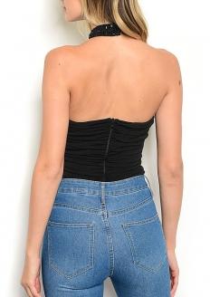 Beaded Sleeveless Choker Neckline Bodysuit - Black