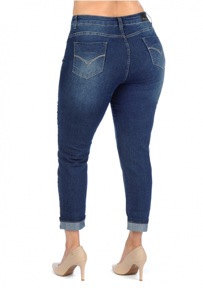 Sawary Cropped Stretch Denim Pants - Plus Size