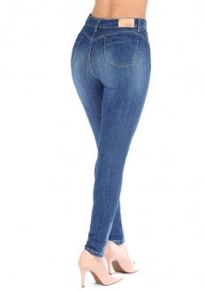 Sawary Calça Jeans Skinny Super Lipo Cintura Alta - Com Cinta Interna - Azul