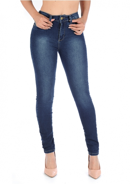 Sawary High Waist Jeans With Lycra - Indigo