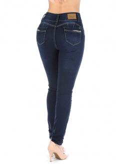 Sawary Calça Jeans Skinny Modela Bumbum com Bojo Removível - Azul Escuro