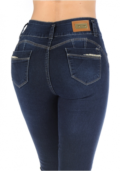 Sawary Skinny Jeans with Removable Butt Pad -  Dark Blue
