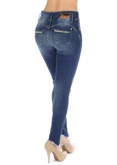 Sawary Calça Jeans Skinny Modela Bumbum Com Bojo Removível - Azul