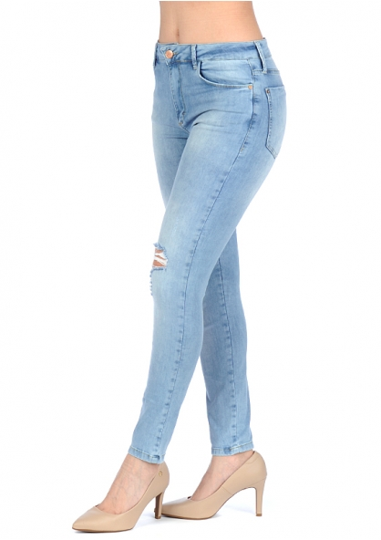 Disparate Crushed Stretchable Skinny Jeans - Light Blue