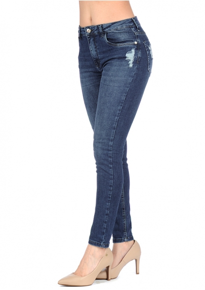 Disparate Crushed Stretchable Skinny Jeans - Denim Blue