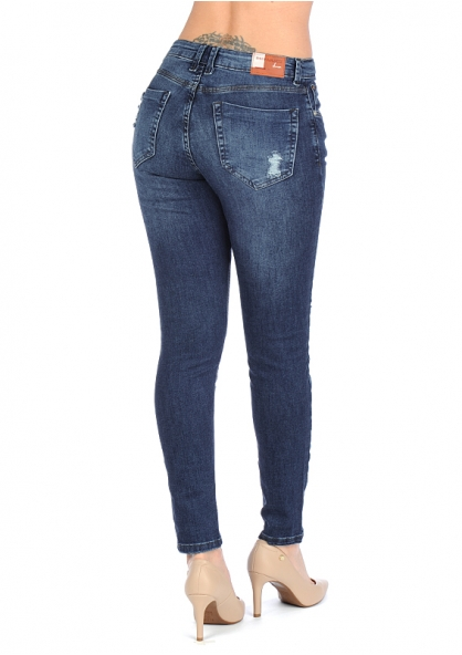 Disparate Crushed Stretchable Skinny Jeans - Denim Blue