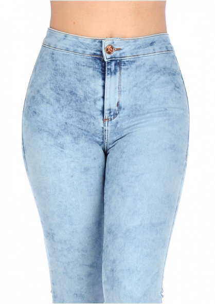 Über Jeans Stretchable High-rise Skinny Jeans - Stained Light Blue