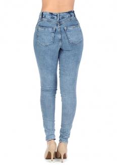 Zune Fashion  High-rise Stretch Denim Pants w/ 14 Buttons - Blue