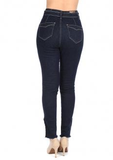 Zune Fashion Calça Jeans Skinny Cintura Alta Com Botões - Azul Escuro