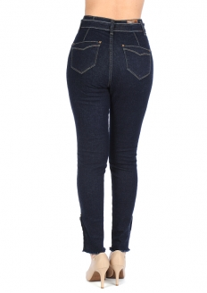 Zune Fashion High-rise Stretch Denim Pants w/ Buttons - Dark Blue