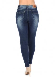 Zune Glam Calça Jeans Skinny Desfiada Com Pedrarias - Azul