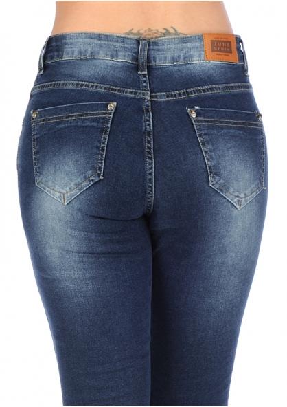 Zune Glam Shredded Stretch Skinny Jeans w/ Rhinestones - Blue