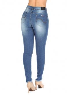 Zune Up Calça Jeans Levanta Bumbum Skinny Desfiada - Azul