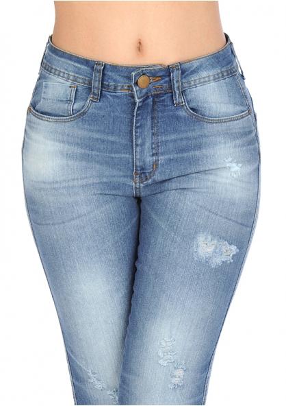 Zune Up  Butt Lift Cut Stretch Skinny Jeans - Blue