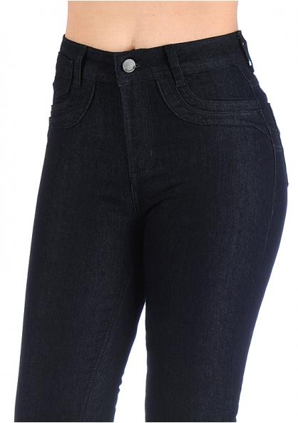 Sawary High Waist Jeans With Lycra - Dark Blue