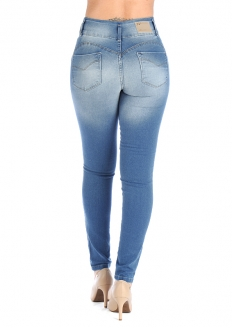 Sawary High Waist  Skinny Jeans With Lycra - Blue