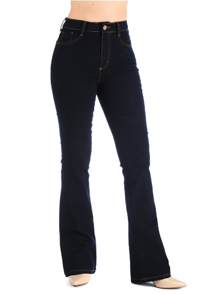 Sawary Super Lipo Boot-cut Pants with Inner Cinther - Dark Blue