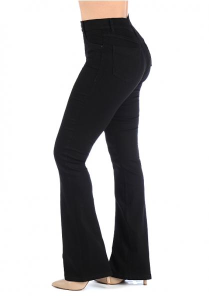 Sawary Boot-cut High Waist Jeans - Black