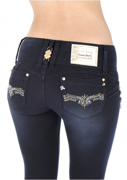 Stripped Stretch Skinny Pants with Chain and Rhinestone - Dark Blue