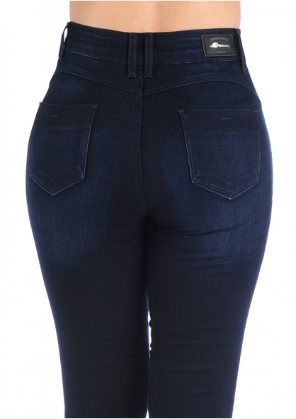 Sawary High Rise Skinny Denim Pants - Dark Blue