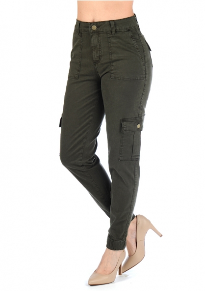 Sawary Stretchable Twill Cargo Pants - Military Green