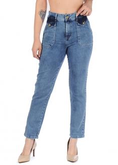 Sawary Cargo Pocket Stretch Denim Pants - Blue