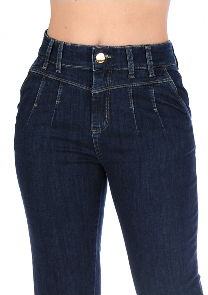 Sawary Boyfriend Style Stretch Denim Pants - Indigo