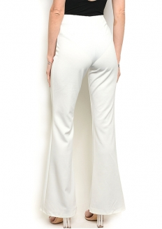 Fitted Waist Slit Hem Wide Leg Trouser - Ivory