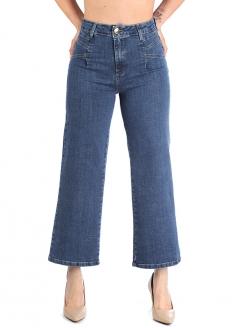Sawary High Rise Wide Leg Denim Pants - Blue