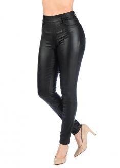 Sawary Rubberized Cigarrete Pants - Black