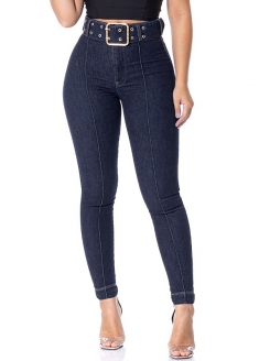 RI19 Belted High Waist Stretch Jeans Pants