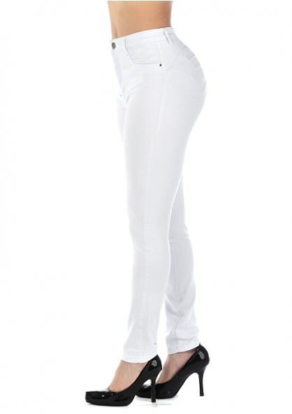 Sawary Skinny Jeans with Removable Butt Pad - White