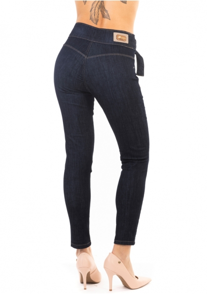 Sawary Cigarrete Jeans With Fixed Belt - Dark Blue
