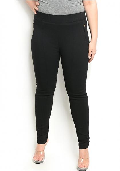 Elastic Waistband Skinny Stretch Pants with Zipper - Black - Plus Size