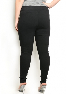 Elastic Waistband Skinny Stretch Pants with Zipper - Black - Plus Size