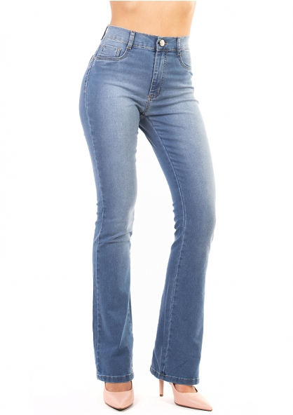 Sawary Boot Cut Stretch Jeans - Light Blue