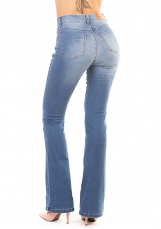 Sawary Calça Jeans Boot Cut Com Lycra - Azul Claro