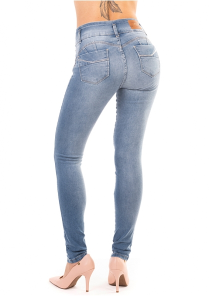 Sawary Skinny Jeans with Removable Butt Pad - Light Blue