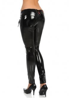 Enamel Pant with Back Lace-up - Black