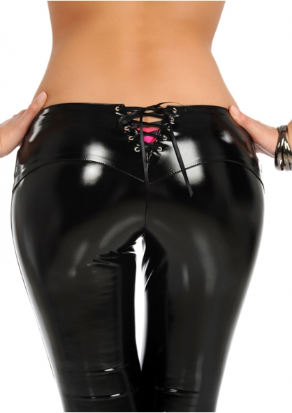 Enamel Pant with Back Lace-up - Black