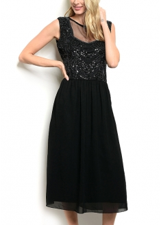 Sleeveless Round neckline Sequins and Bead Detail Dress - Black