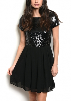 Sequined Top Chiffon Dress - Black