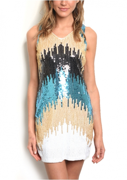 Sleeveless Bodycon Dress with Sequins and Beads - Blue