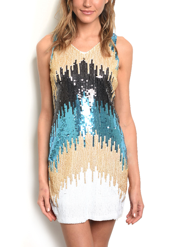 9db3a4776c3e Sleeveless Bodycon Dress with Sequins and Beads - Blue