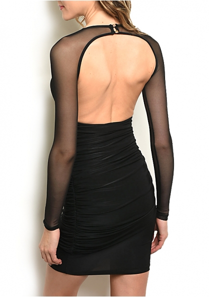 Draped V Neck Dress with Tule Long Sleeve - Black