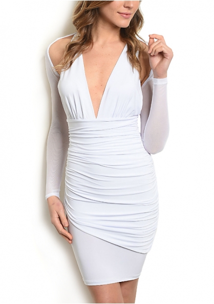 Draped V Neck Dress with Tule Long Sleeve - White