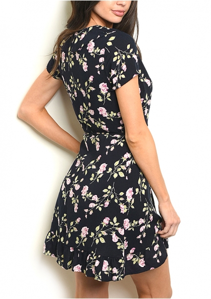 Short Sleeve V-neck Floral Print Dress - Black