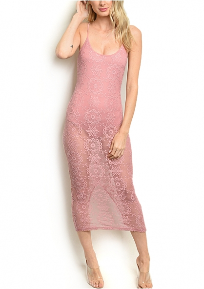 Lace Sheer Dress with Inner Body - Mauve